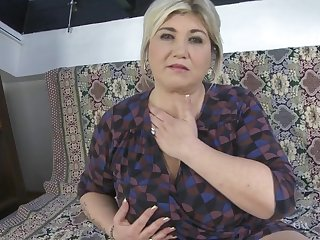 Chubby big breasted housewife sucking in pov style
