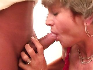 With her red panyties on mommy gets fucked on a public toilet