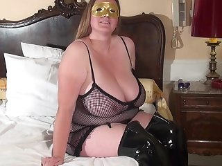 Huge breasted housewife playing alone