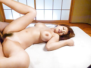 Huge tits, Airu Oshima, porn play on two massive cocks