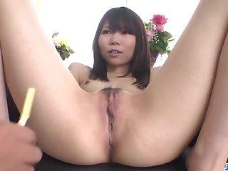 Airi Sasaki, amateur doll, spreads legs for a big dick