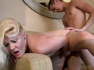 Blonde mom gets jizzed by step son