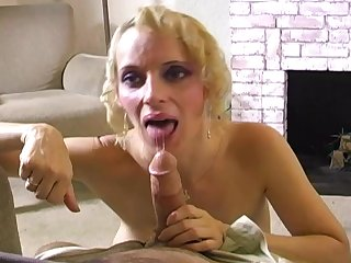 Sexy blonde Erika Lockett is swallowing