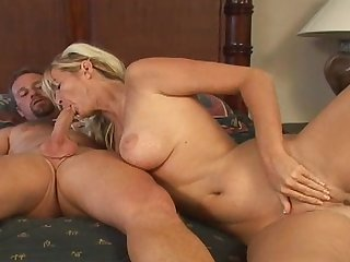 Alluring blonde milf is getting cum in her mouth