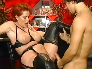 Redhead mom Kira Red fucks in her mouth