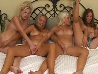 Four hardcore babes are showing big boobs