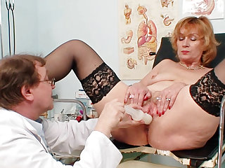 Chubby old lady needs a pussy exam