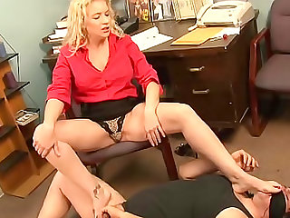 Secretary abuses his cock and balls