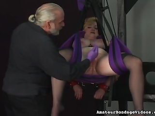 Rough tit torture with BBW slut