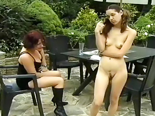 Spanking and caning outdoors is relentless