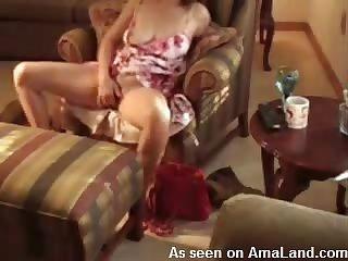 Wife pussy cums around big dildo