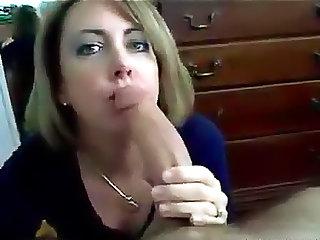 Milf wife sucks off big cock