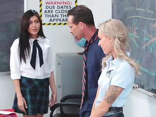 Hot teacher is in for a good fuck with both Audrey Royal and Emma Hix