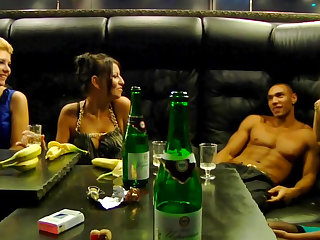 Two cuties are fucking with black dude