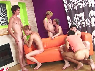 Gorgeous gay orgy with perverted dudes