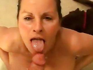 POV blowjob by busty wifey