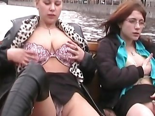 Stunning outdoor upskirt with two cuties