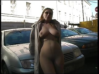 Pantyhose girl flashes body in public