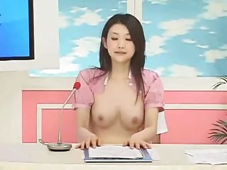 Japanese newsbabe fucked on air