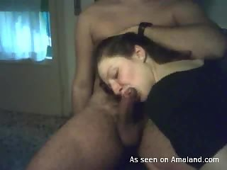 Hands in her hair as she blows him