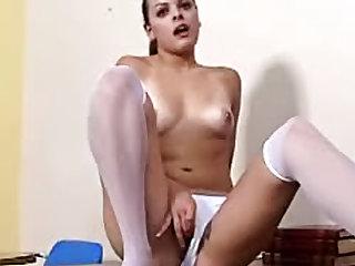 Schoolgirl striptease and finger fucking
