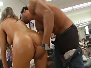 Business babe oiled ass fuck