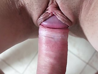 Busty babe gets cock to ruin her cunt in the toilet