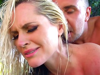 Big ass mommy back yard hard fucked by younger step son