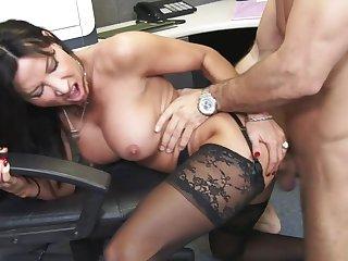 Wild office fuck along Lezley Zen