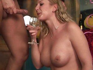 Busty milf Alessandra is sucking so wet