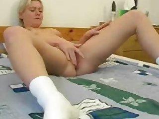 MILF blonde Meg fucks her cute small hole