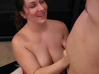 Close-up sex with busty mommy