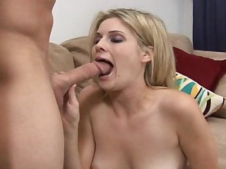 Stunning blonde suck this big cock with pleasure