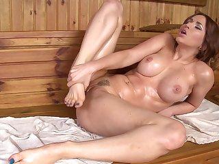Solo masturbation with spicy brunette Aleska Diamond