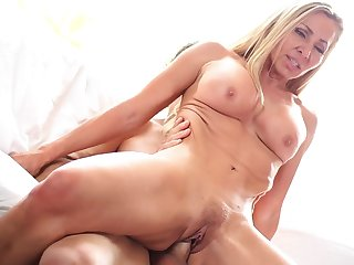 Busty milf Lisa Demarco gets a cock in different poses