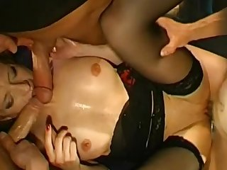 Spicy Olga is swallowing tasty juice