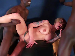 Monroe Valentino is getting two loads of black cum