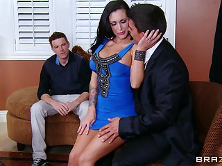 Wife in sexy dress cheats with hubby watching