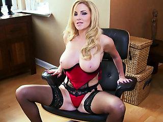 Enjoy a curvy blonde goddess in red lingerie