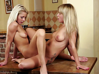 Kissing and cunt licking girls in lesbian porn
