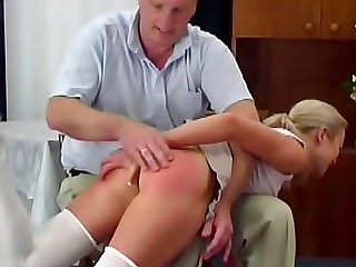 Butt spanked to a bright red
