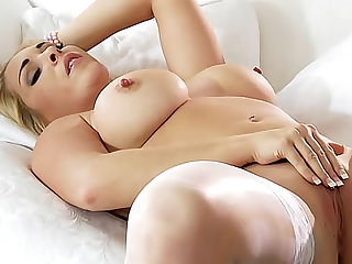Erotic beauty strips from elegant lingerie