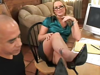 Sexy satin girl in glasses sucks dick