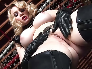 Leather chaps on busty fuck slut
