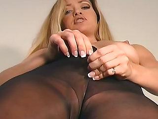 Erotic jerk off instruction with nylon girl