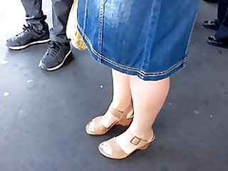 granny in tan nylon feet