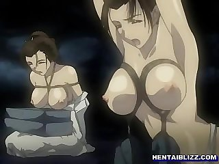 Roped Japanese hentai group fingering wetpussy