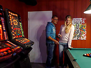 Guy with glasses plows cute Anja's cunt on a pool table