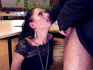 Gagging makes his cock hard enough to stick it inside her juicy muff