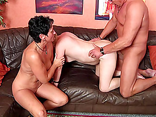 Two grannies and an older guy have a wild amateur threesome